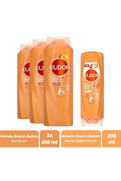 Saç Bakım Seti Anında Onarıcı Şampuan 650 ml X3 ve Serum Bakım Kremi 200 ml