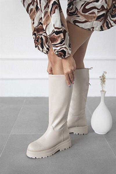 Lina Kadın Deri Çizme Bej