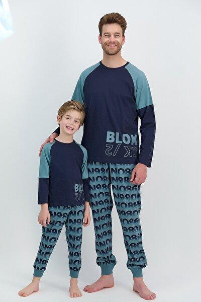 Erkek Uzun Kol Blok Yazılı Pijama Takımı (baba Oğul Takım Yapılabilir Fiyatlar Farklıdır)