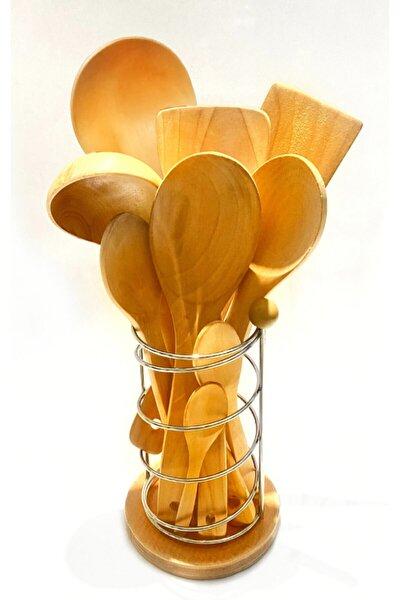 10 parça bambu ahşap kaşık tahta spatula servis kepçe seti-metal standlı