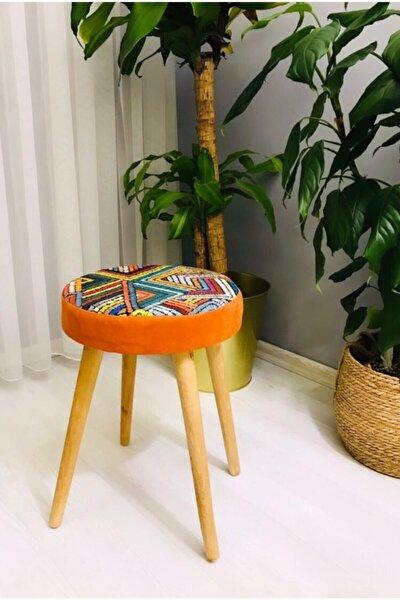 Ahşap Ayak Dekoratif Puf Tabure Bench Yuvarlak Koltuk Sandalye