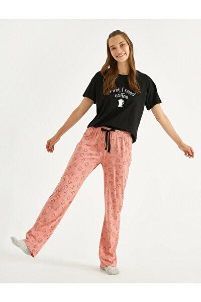 Sloganli Pijama Takimi Pamuklu