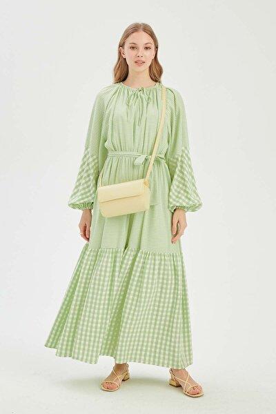 Kadın Mint Balon Kol Pötikareli Elbise