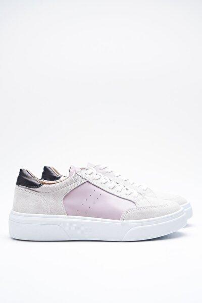Hedwig Beyaz Gri Hakiki Deri Kadın Sneakers