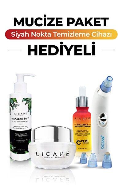 Leke Kremi ve Cilt Beyazlatıcı + Kolajen + C Vitaminli Yaşlanma Karşıtı Serum + Yüz Temizleme Jeli