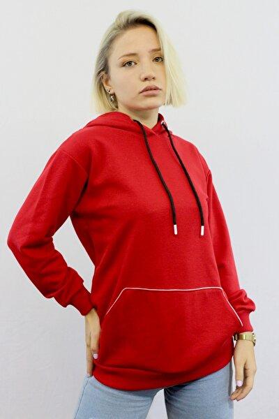 Kadın Kanguru Cepli Kırmızı Sweatshirt