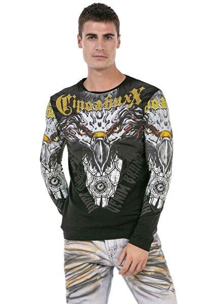 Cl488 Siyah Kartal Baskılı Sweatshirt