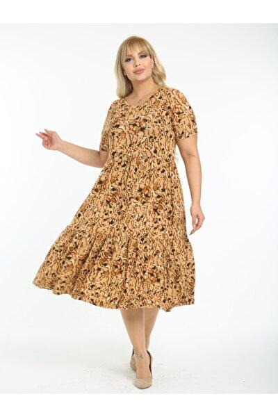 Kadın Kahverengi Büyük Beden Yaprak Desen Büzgülü 3 Katlı Lı Viskon Elbise