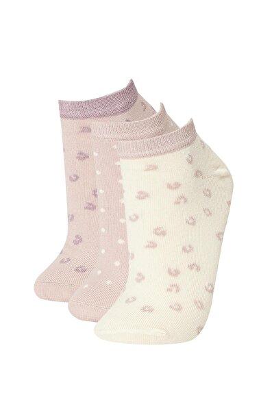Kadın Çok Renkli Desenli 3'Lü Patik Çorap V9721AZ21HS