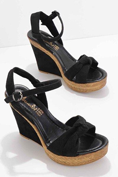 Siyah Süet Kadın Dolgu Topuklu Ayakkabı K05897031665