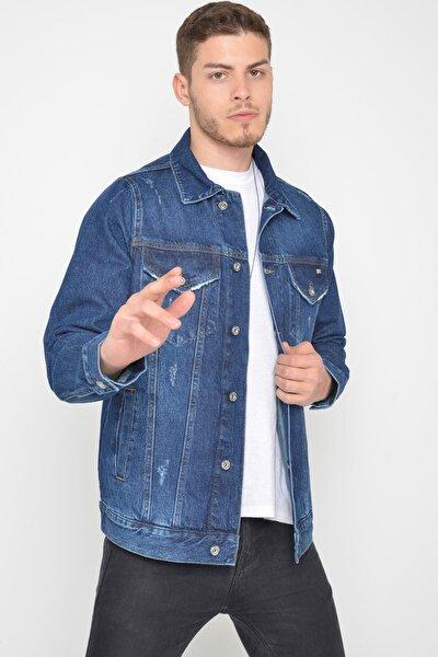 Erkek Koyu Mavi Yıkamalı Yıpratmalı Düğmeli Kot Ceket
