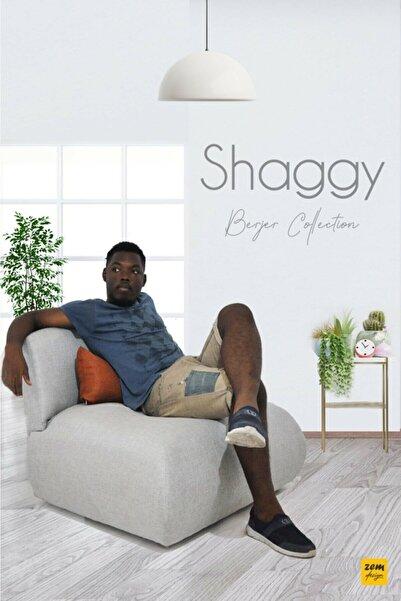 Shaggy Yumuşak Oturumlu Gri Tekli Koltuk Turuncu Sırt Yastığı
