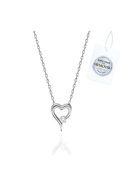 Zirconia Taşlı Kalp Gümüş Kolye