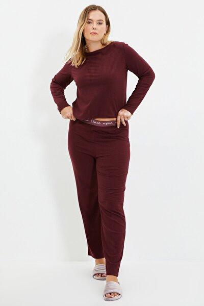 Bordo Lastik Detaylı Örme Pijama Takımı THMAW21PT0269