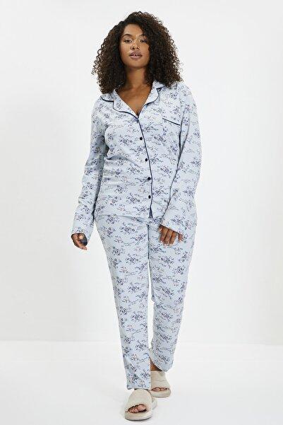 Mavi Çiçekli Örme Gömlek Pantolon Pijama Takımı THMAW20PJ0016