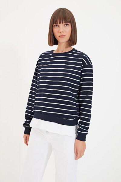 Lacivert Çizgili Basic Örme İnce  İnce Sweatshirt TWOAW21SW0788