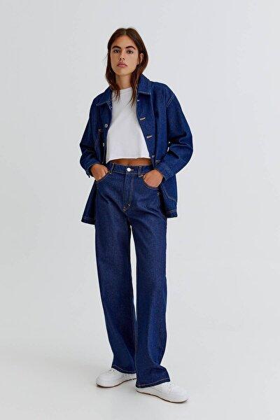 Lacivert Renk Yüksek Bel Straight Fit Jean