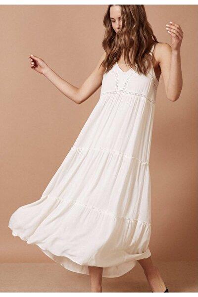 Beyaz Dizaltı Askılı Yazlık Elbise