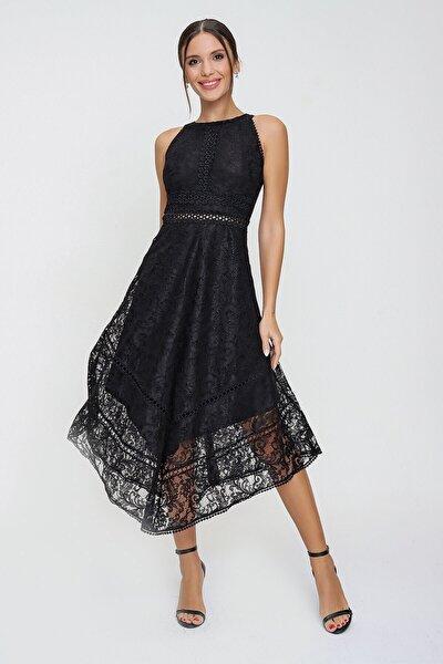 Halter Yaka Astarlı Asimetrik Dantel Elbise Siyah