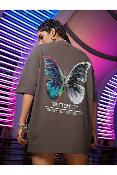 Kadın Kahverengi Butterfly Oversize T-shirt