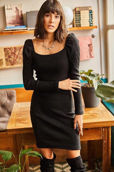 Kadın Siyah Kare Yaka Likralı Elbise ELB-19001612