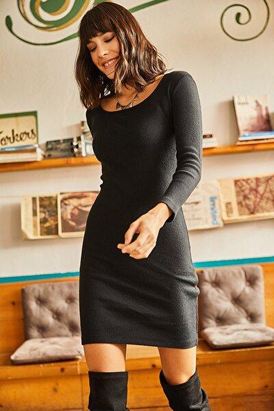 Kadın Siyah Geniş Yakalı Likralı Elbise ELB-19001613