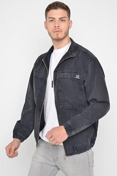 Oversize Siyah Yıkamalı Modelli Erkek Fermuarlı Bomber Kot Ceket