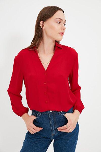 Kırmızı Tall Düz Kesim Gömlek TWOAW22GO0559