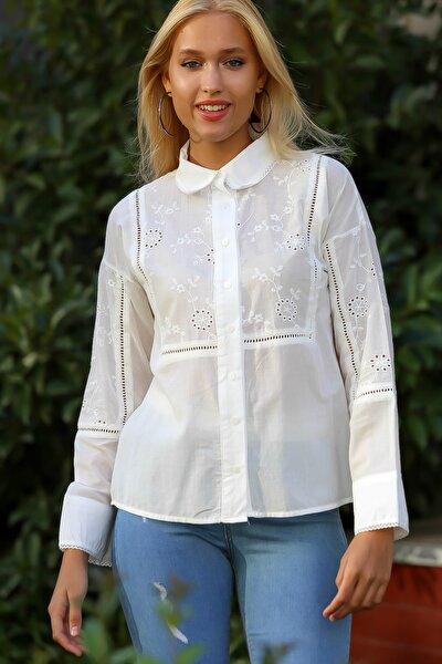 Kadın Ekru Fisto Ve Trim Detaylı Düğmeli Yakalı Dokuma Bluz M10010200BL94894