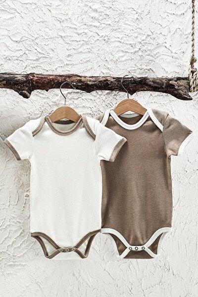 2'li Özel Üretim Rococo Bebek Kısa Kollu Bodysuit Seti Pamuk Kaşkorse Penye
