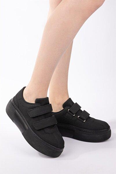 Kadın Siyah Nubuk Cırt Cırtlı Sneaker Yüksek Tabanlı Bantlı Spor Ayakkabı