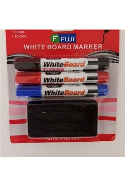 Doldurulabilir Tahta Kalemi 3 Renk Manyetik Tahta Mıknatıslı Silgi 1 Adet Tx