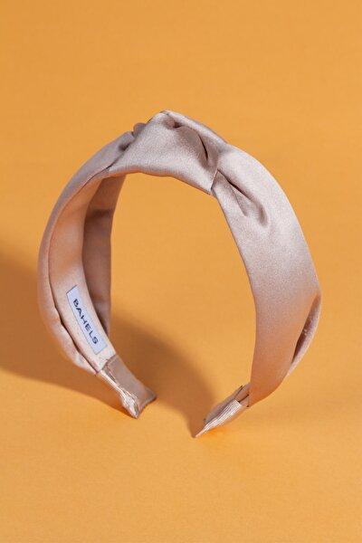 Kadın Cappuccino Renk Saten Düğümlü Lüx Model Taç Saç Bandı