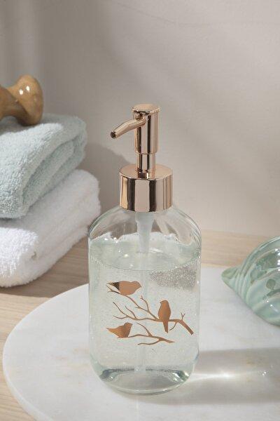 Birdy Cam Banyo Sıvı Sabunluk 7x7x18 Cm Rose Gold