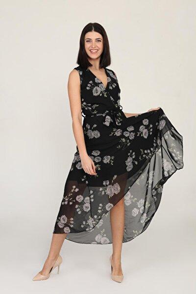 Kadın Kruvaze Önü Kısa Arkası Uzun Desenli Şifon Elbise
