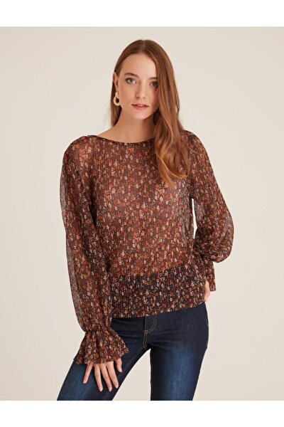 Kadın Kahverengi Volan Kol Desenli Transparan Bluz