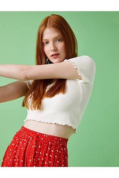 Kadın Beyaz Crop Fitilli Pamuklu T-Shirt 1YAL18104OK