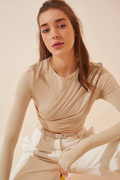 Kadın Krem Pliseli Crop Örme Bluz DP00127