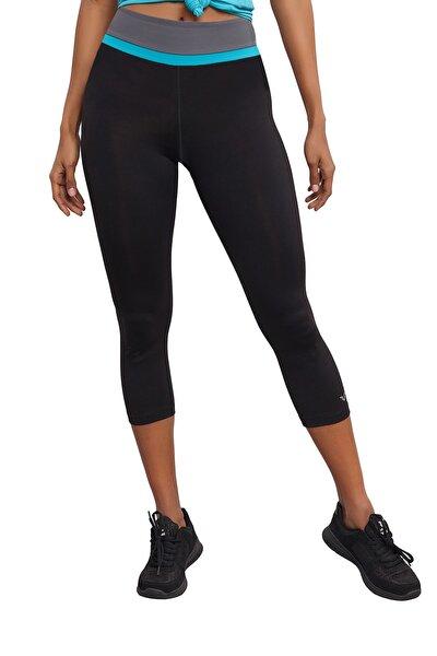 Siyah 3/4 Kısa Sporcu Toparlayıcı Yüksek Bel Kadın Taytı Bs-7118