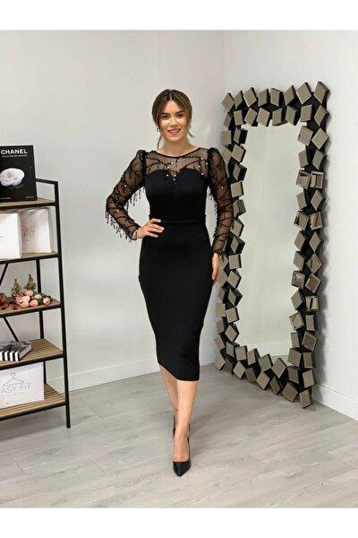 Scuba Kumaş Pul Saçaklı Elbise - Siyah