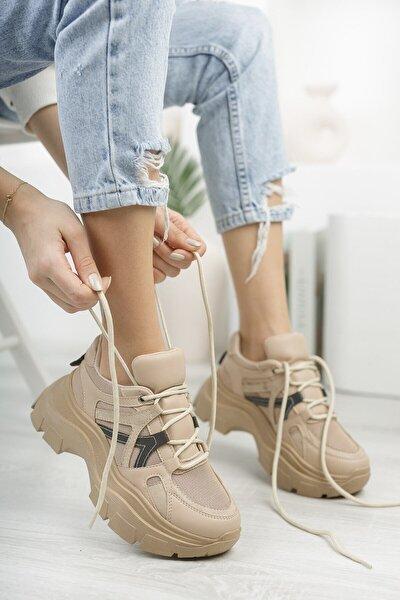 Kadın Bej Kalın Tabanlı Spor Ayakkabı