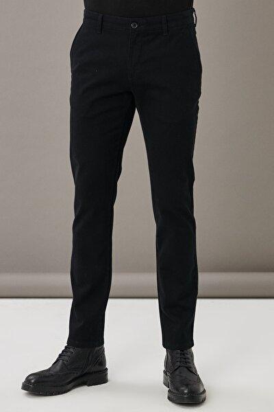 Erkek Siyah Kanvas Slim Fit Dar Kesim Yan Cep Chino Pantolon