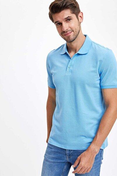 Regular Fit Polo Yaka Basic Kısa Kollu Mavi Tişört