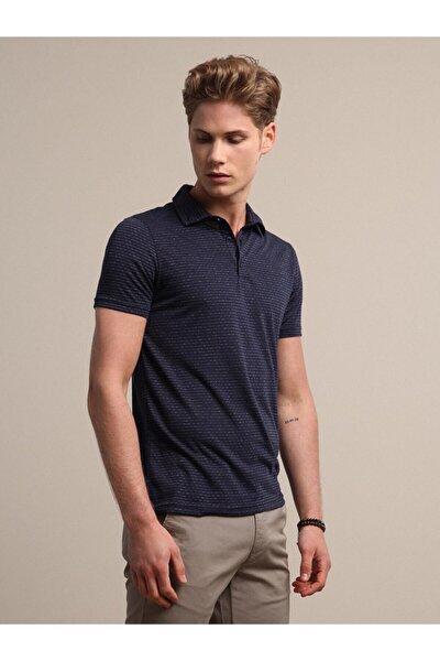 Erkek Lacivert Jakarlı Örme T - Shirt KP10120455