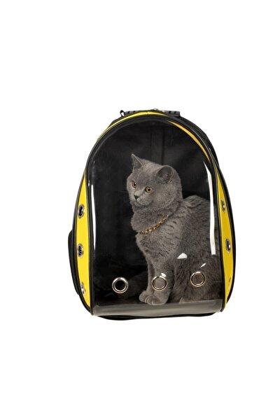 Sarı Siyah Astronot Kırılmaz Şeffaf Kedi Köpek Taşıma Çantası 42 X 22 X 33 Cm