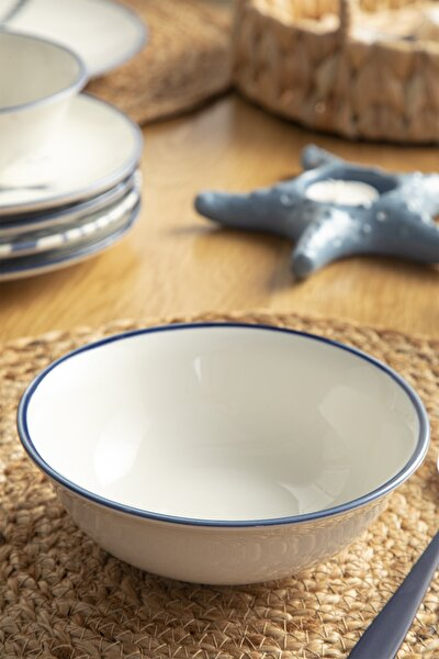 Simple Porselen Çukur Tabak 14 Cm Beyaz - Lacivert