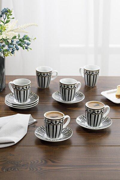 Eldora Porselen 6'lı Kahve Fincan Takımı 100 ml Siyah - Beyaz