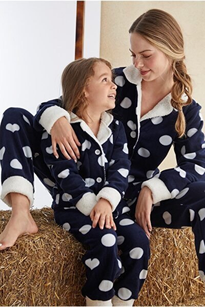 Anne-kız Welsoft Düğmeli Pijama Takım