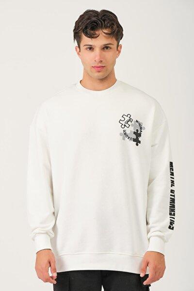 Oversize Baskılı Sweatshirt