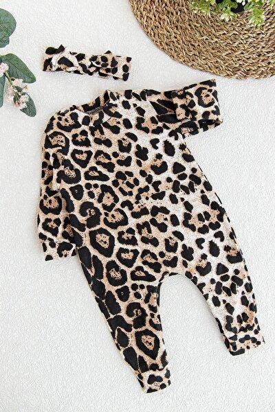 Kız Bebek Leopar Desenli Bebek Tulum